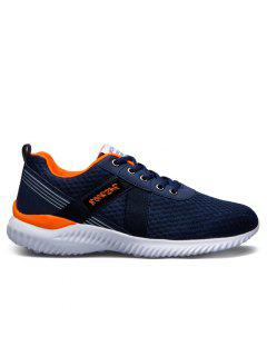 Mesh Breathable Lace Up Sneakers - Jacinth 38