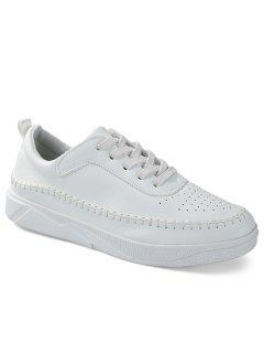 Round Toe Stitching Faux Leather Sneakers - White 42