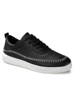 Round Toe Stitching Faux Leather Sneakers - Black 40