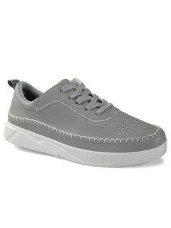Round Toe Stitching Faux Leather Sneakers - Gray 42