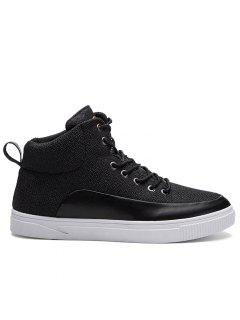 Round Toe Color Block High-top Sneakers - Black 42