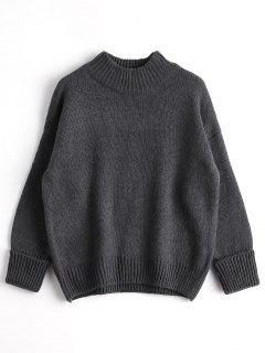 Loose Heathered Mock Neck Sweater - Deep Gray