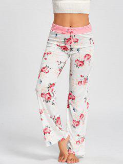 Drawstring Waist Floral PJ Pants - White Xl