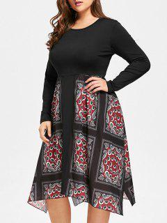 Handkerchief Floral Print Plus Size Dress - Black 4xl