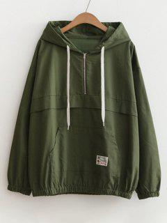 Patched Pocket Half Zip Hoodie - Army Green