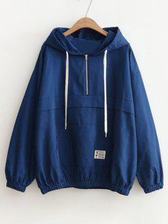Patched Pocket Half Zip Hoodie - Blue