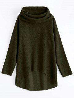 High-Low Tunic Hoodie - Army Green L