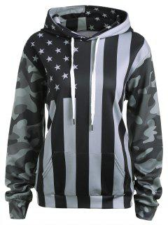 Patriotic American Flag Camo Drawstring Hoodie - Black And Grey L