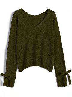 V Neck Bow Tied Sweater - Army Green