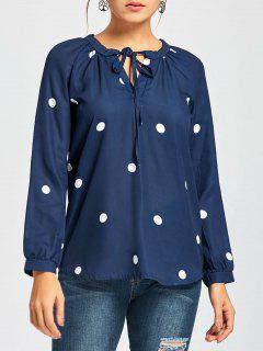 Raglan Sleeve Polka Dot Chiffon Blouse - Deep Blue Xl