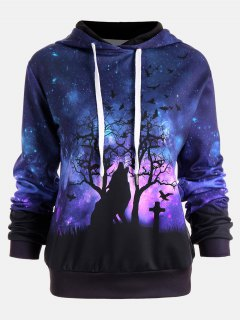 Halloween Galaxy And Wolf Print Drawstring Hoodie - L