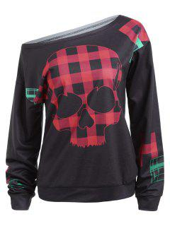 Plaid Skull Patched One Shoulder Sweatshirt - Black Xl