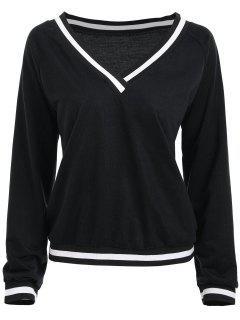 V Neck Striped Raglan Sleeve Sweatshirt - Noir L