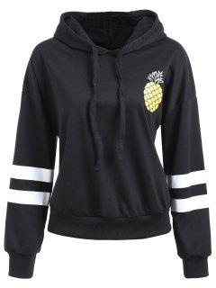 Drawstring Striped Pineapple Print Hoodie - Black S