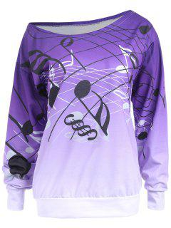 Sweat-shirt Imprimé Notes Musicales Couleur Dégradation Encolure Cloutée - Pourpre  2xl