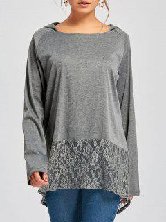 Hooded Raglan Sleeve Lace Insert Tunic T-shirt - Grey And Dark Grey L