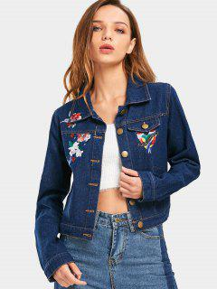 Button Up Floral Bird Patched Denim Jacket - Deep Blue L