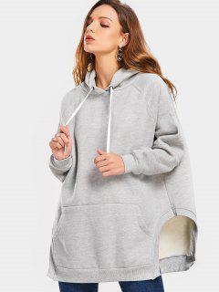 Raglan Sleeve Front Pocket Slit Hoodie - Gray M
