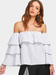 Off Shoulder Tiered Flare Sleeve Striped Blouse - White S