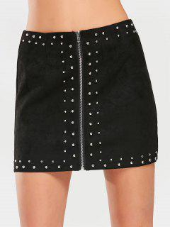 Zippered Rivet Embellished Faux Suede Skirt - Black M