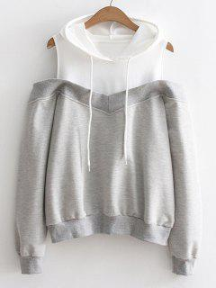 Two Tone Cold Shoulder Hoodie - Gray