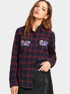 Floral Gesticktes Geprüftes Taschenhemd - Kariert L