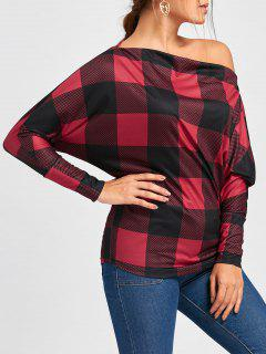 Batwing Sleeve Plaid Skew Collar Top - Red With Black L