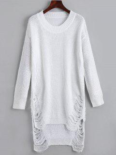 Distressed Mini Sweater Dress - White Xl