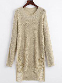 Distressed Mini Sweater Dress - Khaki Xl