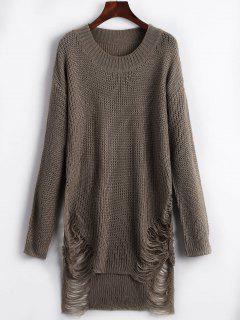 Distressed Mini Sweater Dress - Brown L