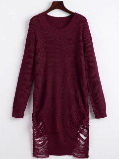 Distressed Mini Sweater Dress - Wine Red M