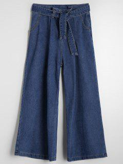 High Waisted Belted Wide Leg Jeans - Denim Blue M