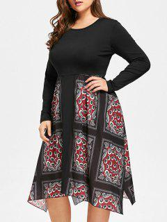 Handkerchief Floral Print Plus Size Dress - Black Xl