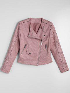Cropped Zip Up Fuax Suede Jacket - Pink L