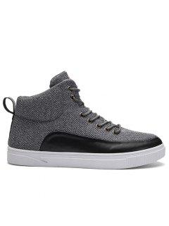 Round Toe Color Block High-top Sneakers - Gray 44
