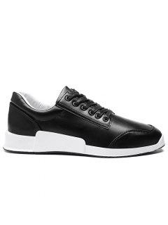Faux Leather Round Toe Sneakers - Black 42