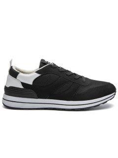 Mesh Color Block Low Top Athletic Shoes - White 41