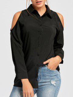 Cold Shoulder Button Down Tunic Shirt - Black M