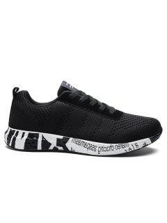Letter Mesh Breathable Sneakers - Black 42
