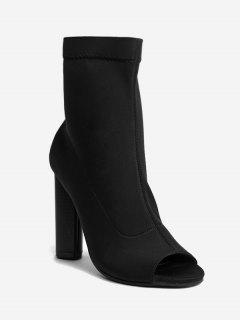 Chunky Heel Peep Toe Ankle Boots - Black 39