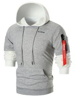 Zip Sleeved Color Block Fleece Hoodie - Light Gray 4xl