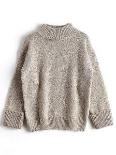 Loose Heathered Mock Neck Sweater - Apricot