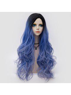 Long Side Parting Layered Shaggy Wavy Ombre Synthetic Party Wig - Larkspur