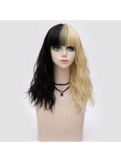 Medium Full Bang Two Tone Natural Wave Synthetic Party Wig - Black And Golden