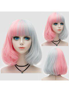 Medium Full Bang Shaggy Two Tone Straight Bob Party Synthetic Wig - Pink + Gray