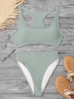 Shiny High Cut Racerback Sporty Bikini - Light Green M