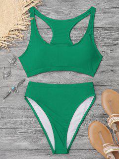 Shiny High Cut Racerback Sporty Bikini - Green L