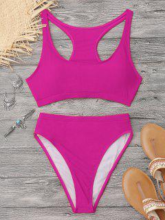 Glänzender Racerback Sportlicher Bikini Mit Hoher Taille - Tutti Frutti Xl