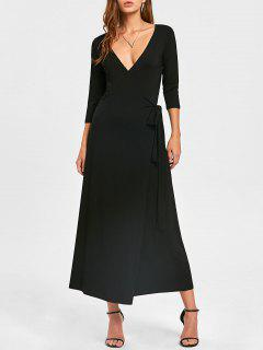 Plunging Neck Mid-calf Wrap Dress - Black Xl