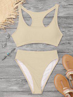 High Cut Racerback Sporty Bikini - Yellowish Pink M